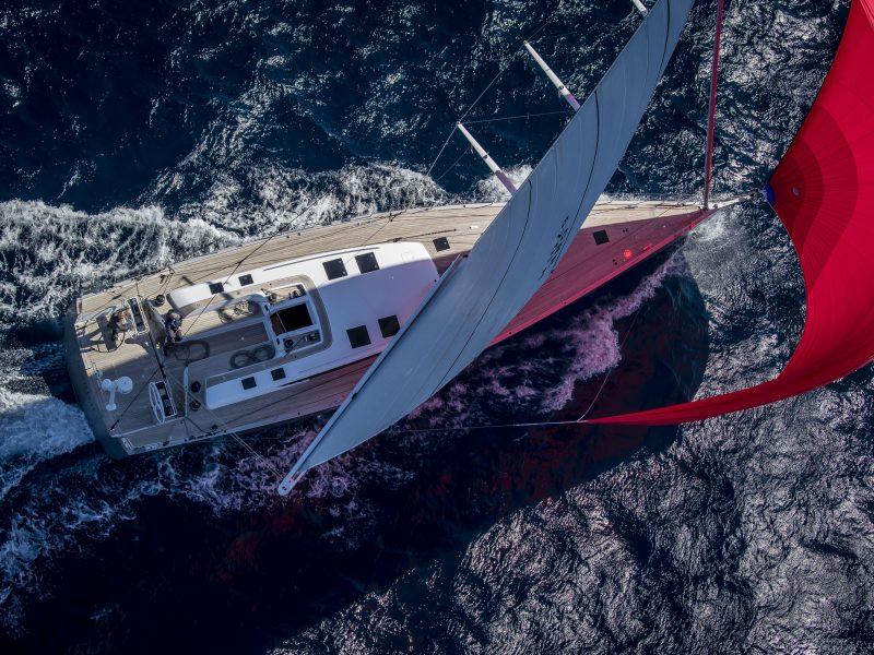 Aerial view of Baltic 67 sailing yacht Manyeleti