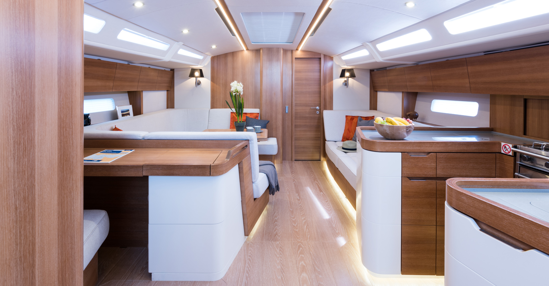 an open plan sailing yacht saloon