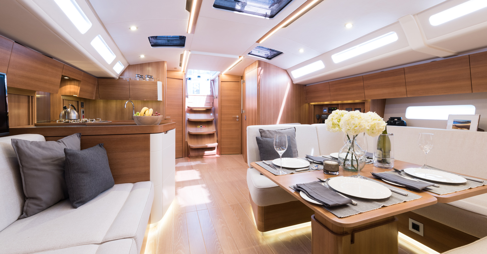 Inside Sirena Marine's Euphoria sailing yacht