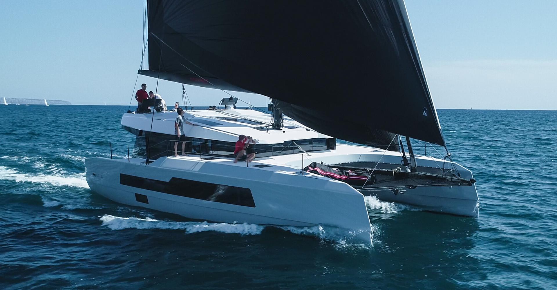 The MC50 multihull by McConaghy sailing along