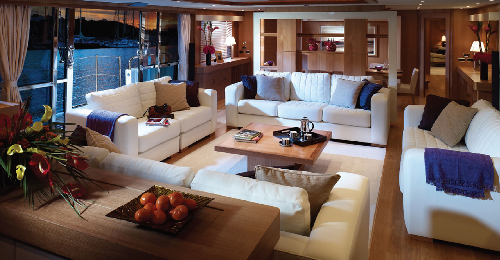 Older interior designs for Sunseeker motor yachts