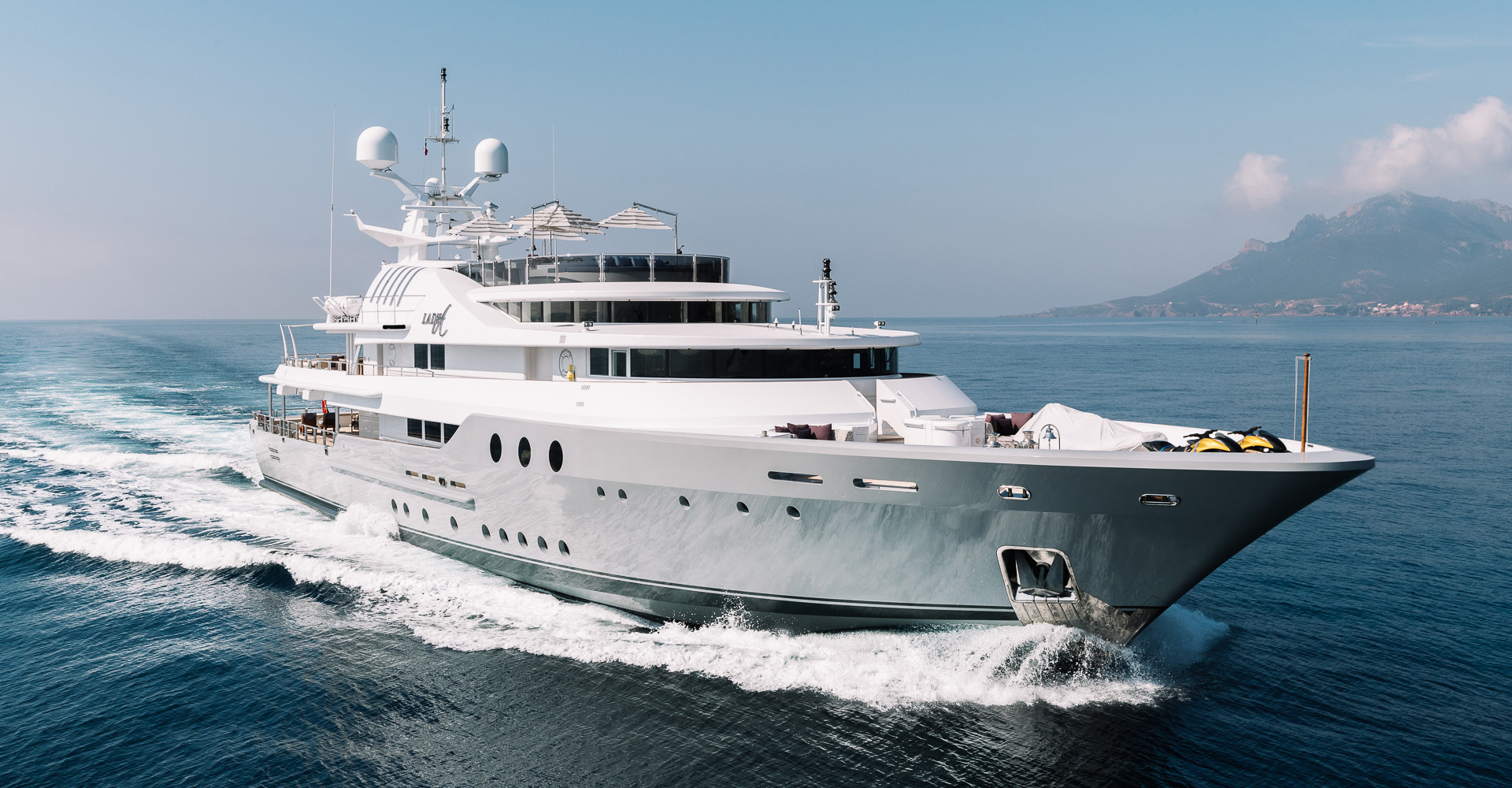 Exterior photo of motor yacht Lady A. The yacht is owned by Alan Suagr.