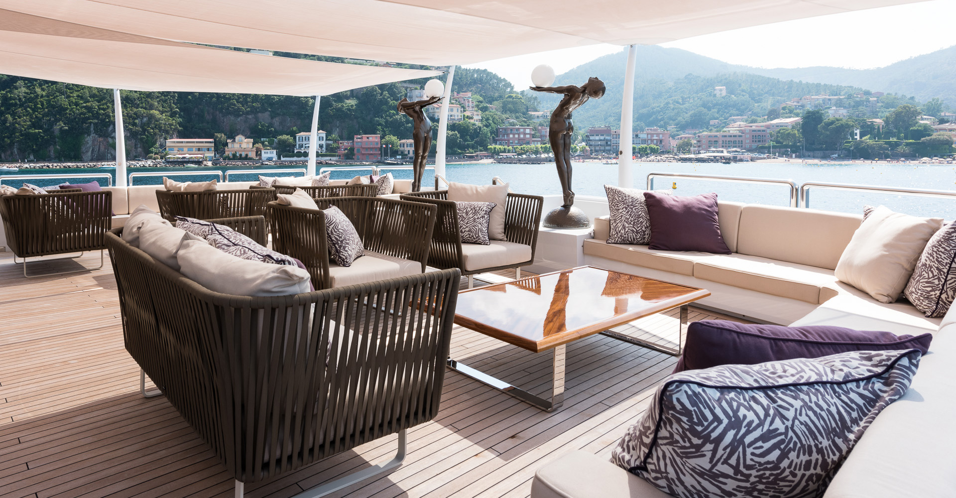 Aft deck of superyacht Lady A.