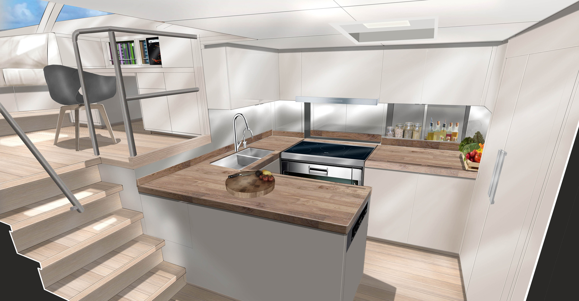 The galley design for SY Missy