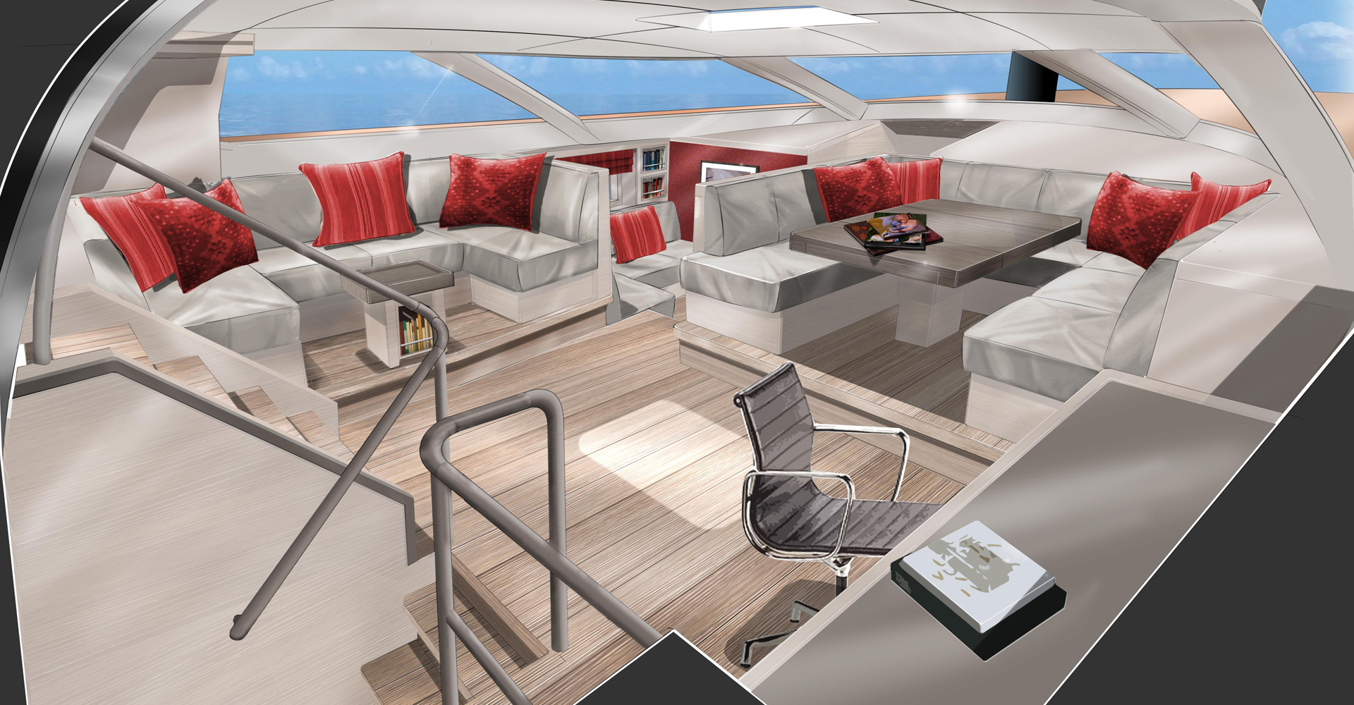 Sketch of sailing yacht Missy's saloon
