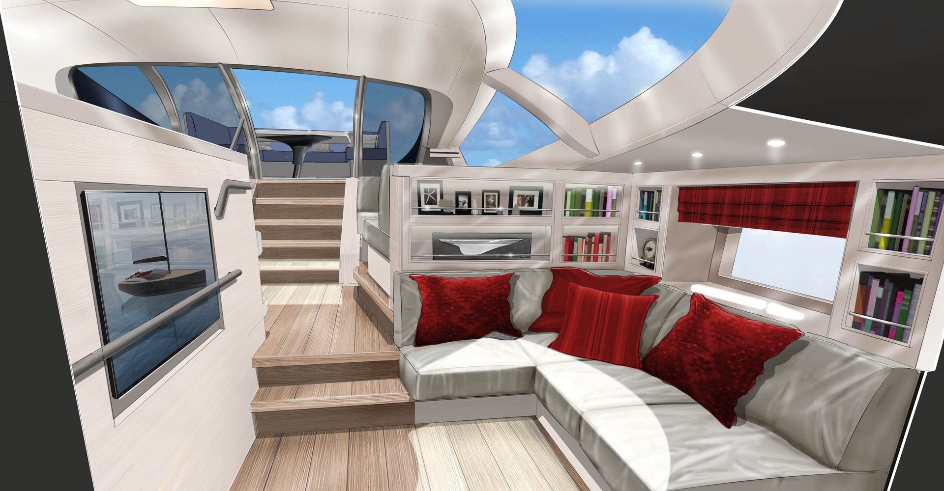 Interior sketch for sailing yacht Missy