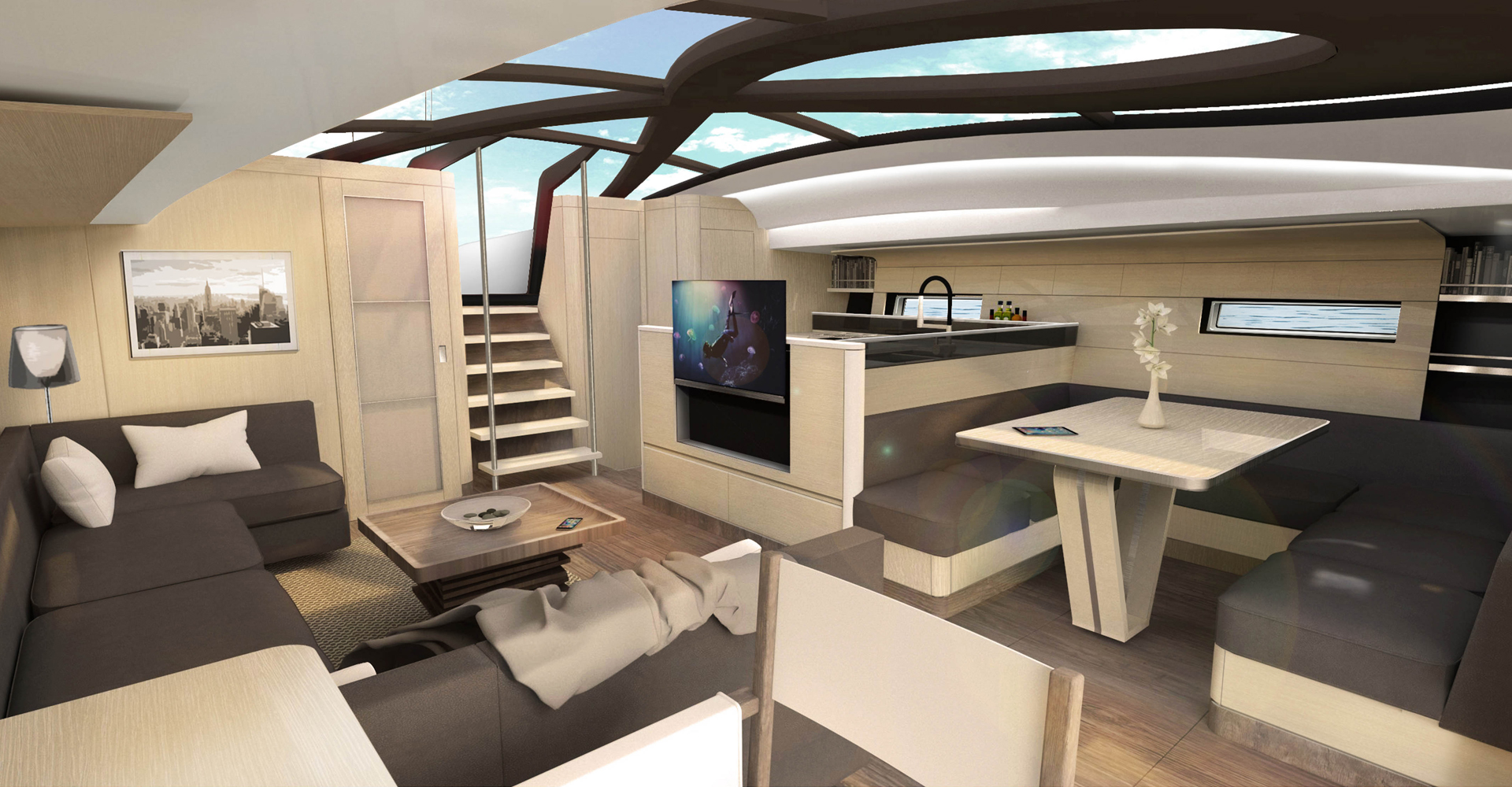 Saloon design for an Infiniti 85 performance sailing yacht