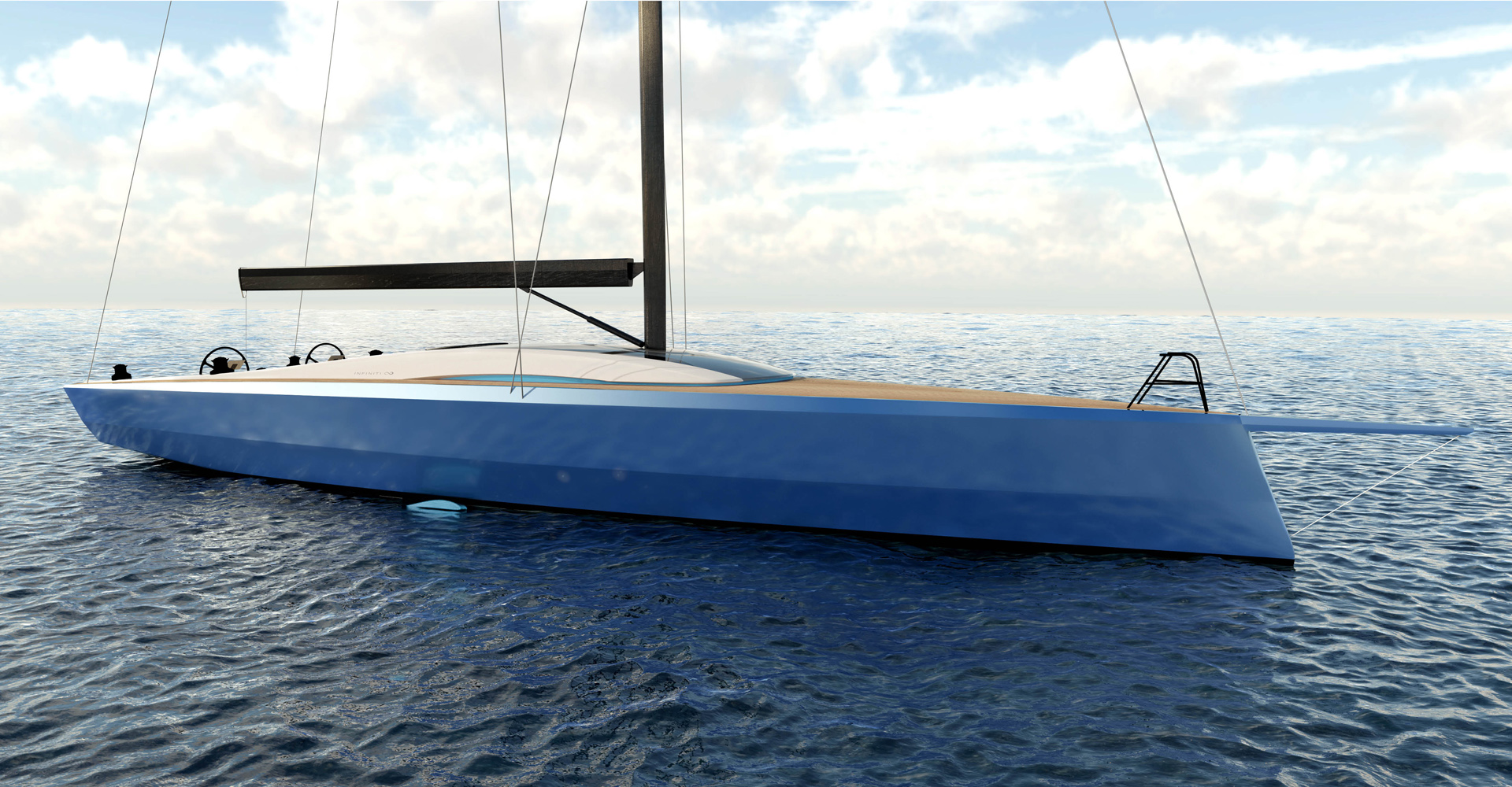 Exterior render of the Infiniti 60 sailing yacht with DSS foil