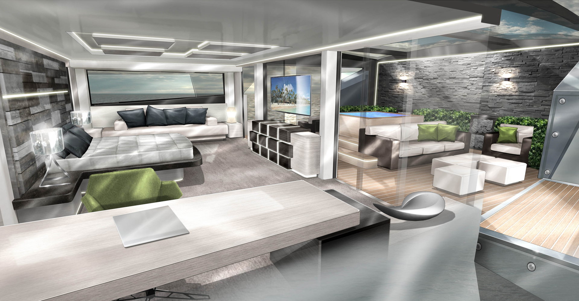 master suite design for a 50m explorer vessel