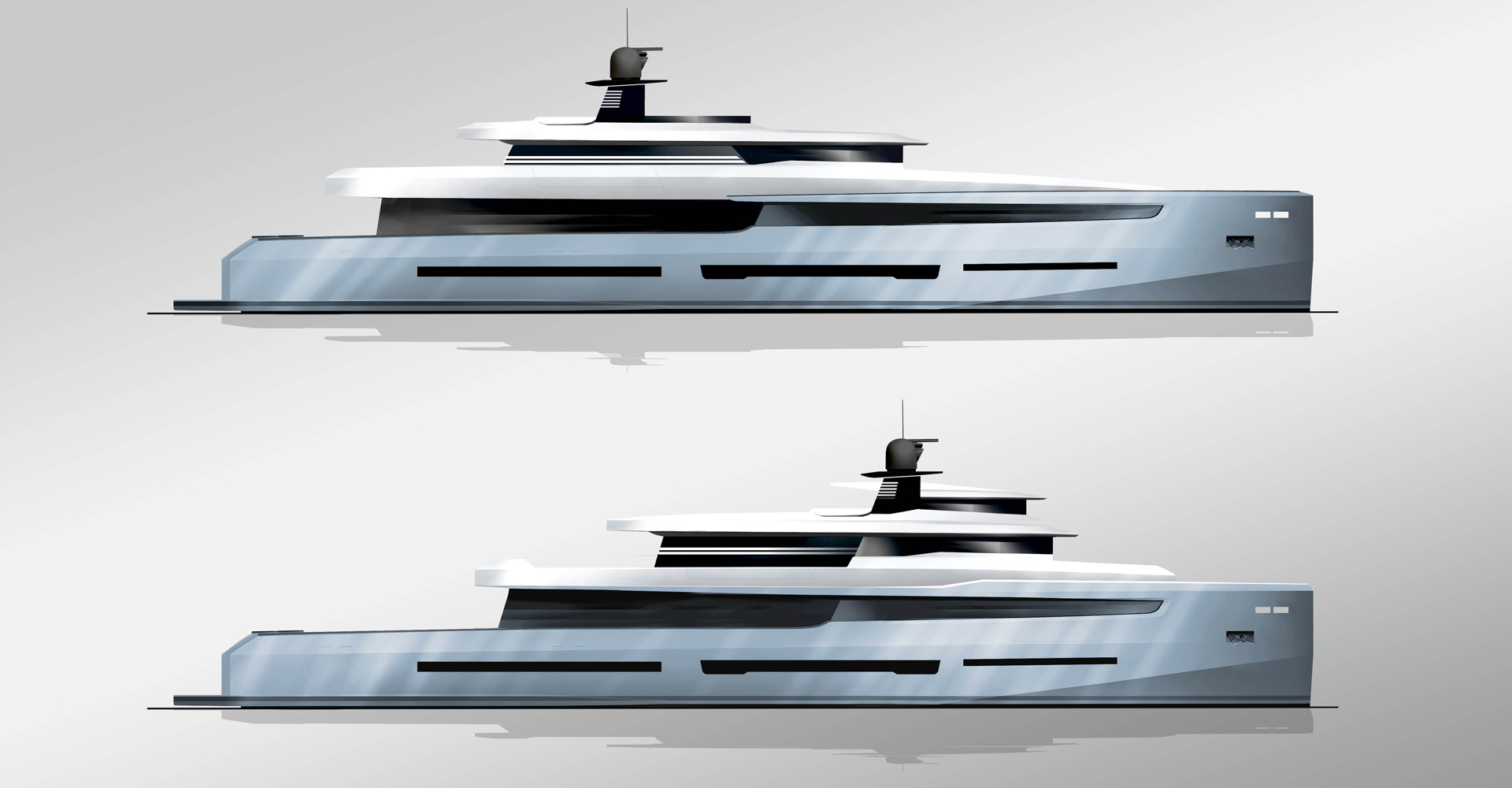 Exterior profile for an explorer motor yacht