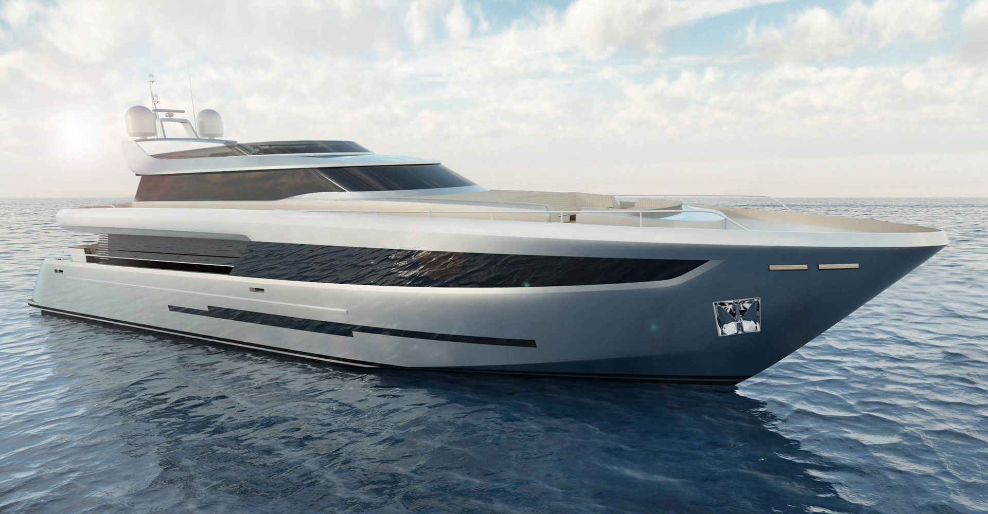 Exterior render for a 42m motor yacht concept