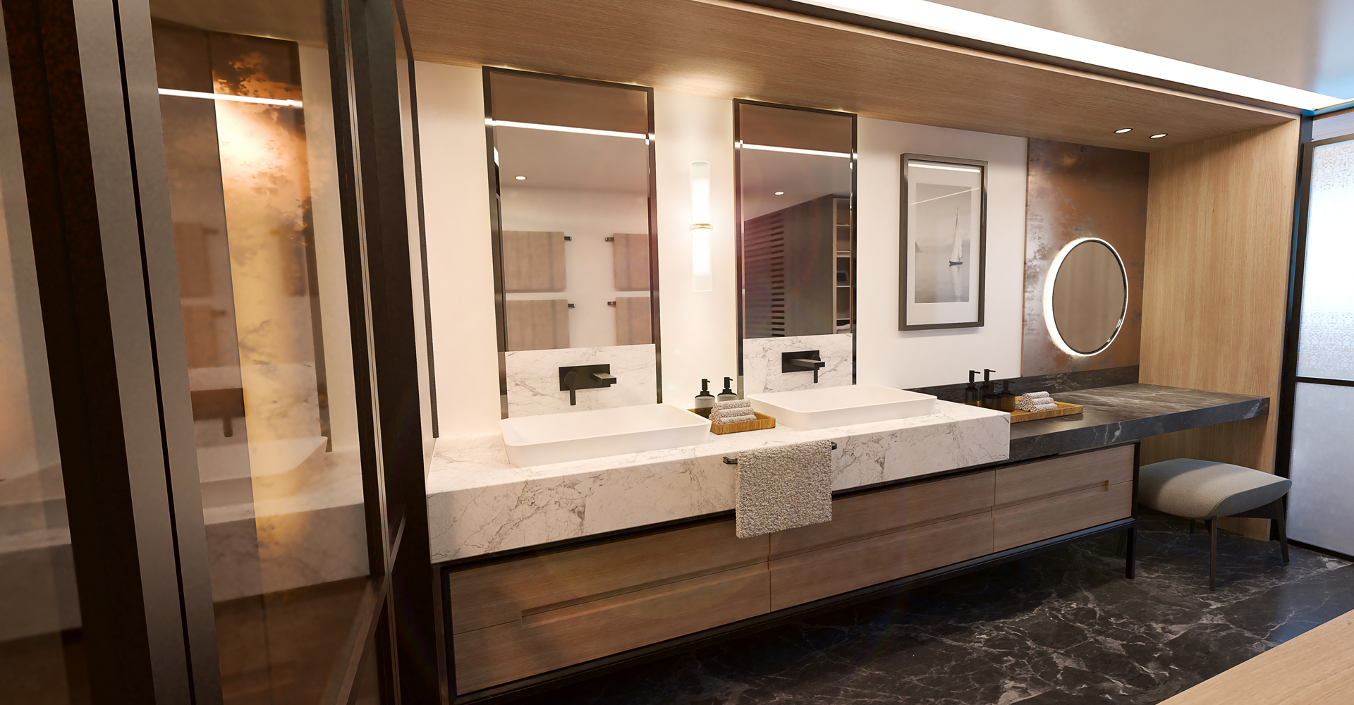 His and hers vanity units