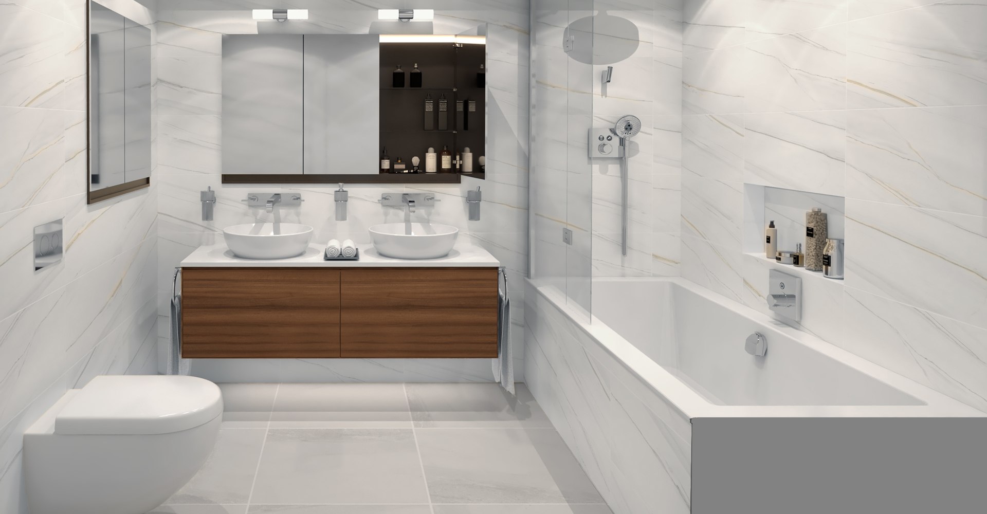 Rendering of a marble bathroom