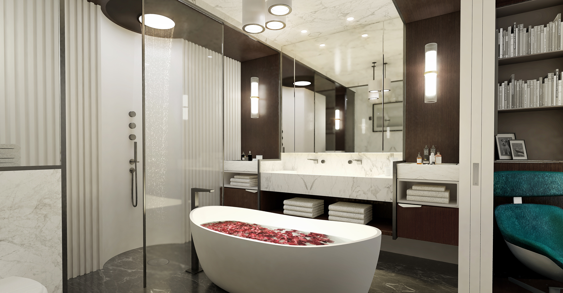 An indulgent motor yacht bathroom design