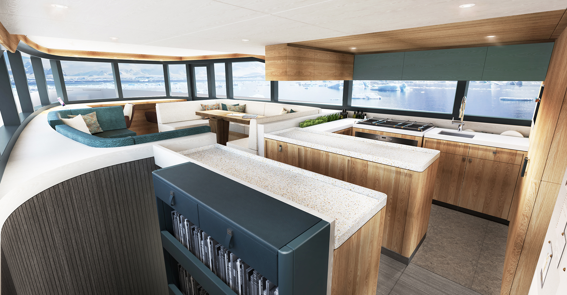 Versatile living space aboard an Arksen motor yacht