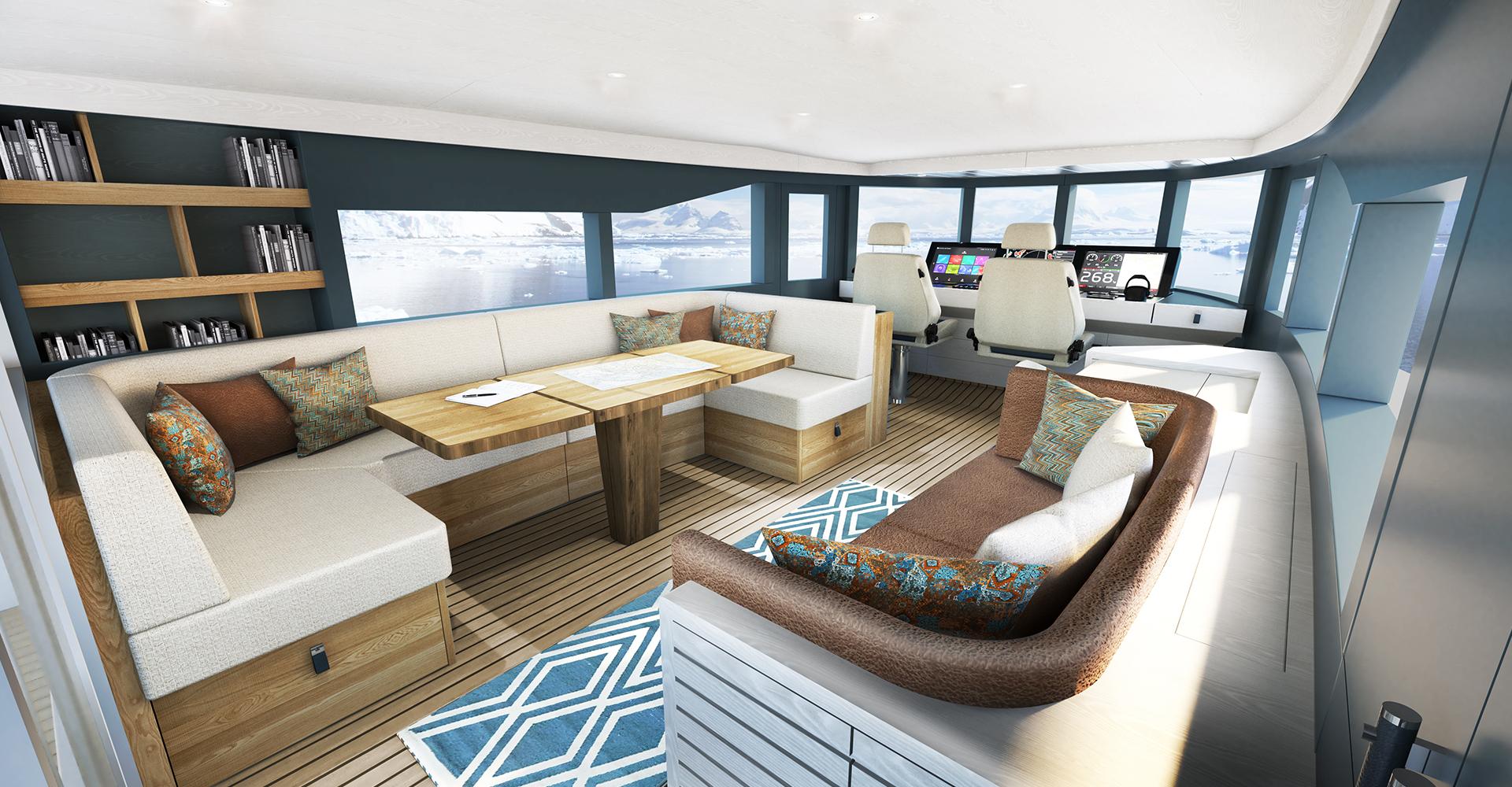 Arksen explorer yacht upper saloon render