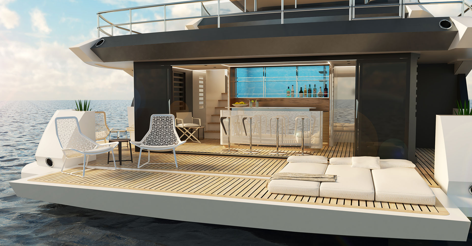 The beachclub design for Sunseeker's 161 superyacht
