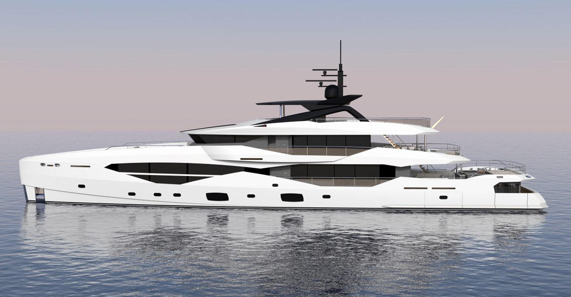 Exterior rendering of a Sunseeker superyacht