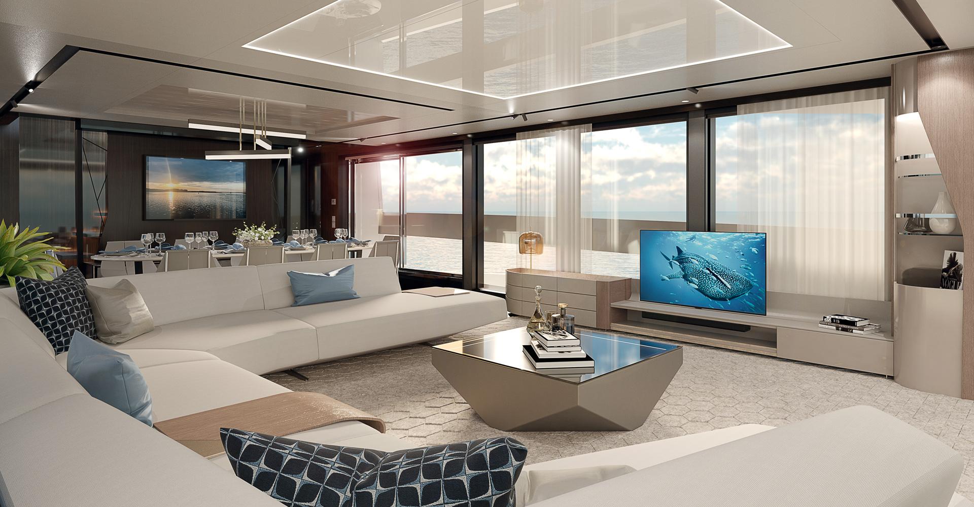 Sunseeker 100 Yacht interior rendering