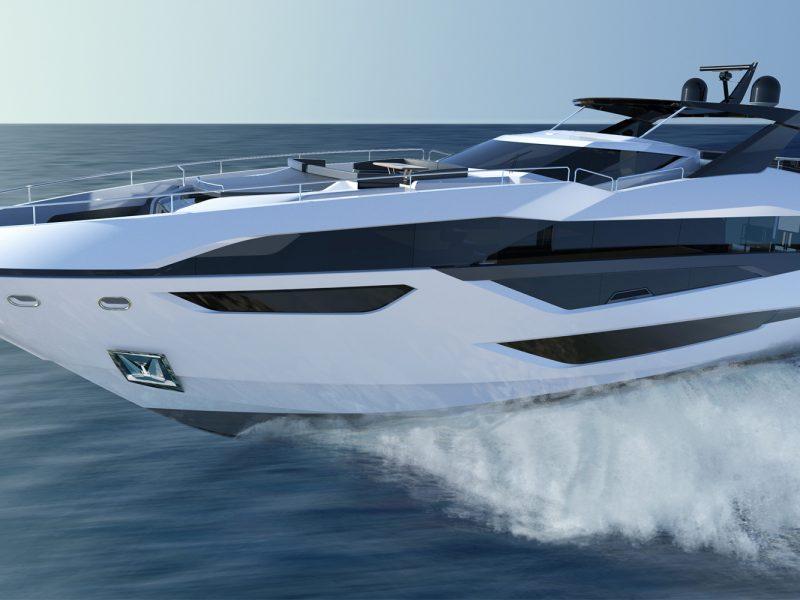 Exterior render of the Sunseeker 100 Yacht