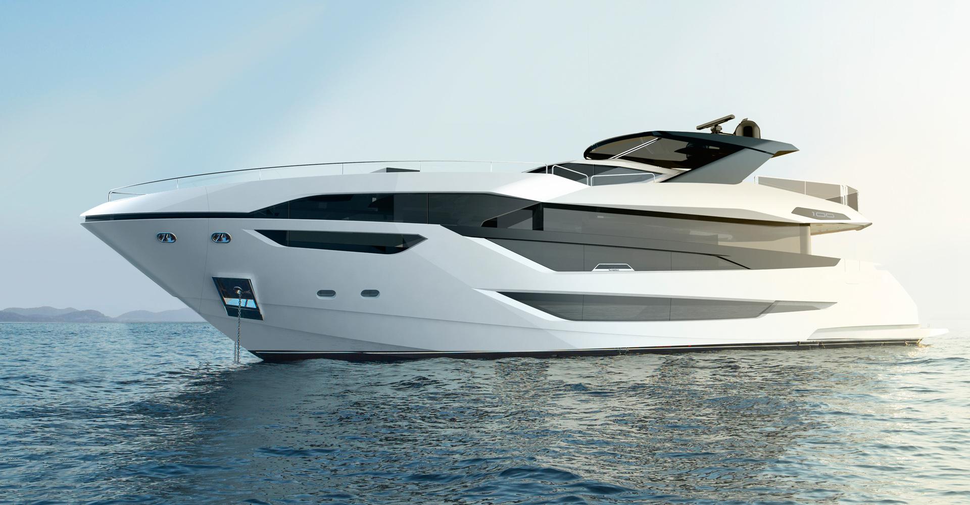 Exterior rendering of Sunseeker motor yacht