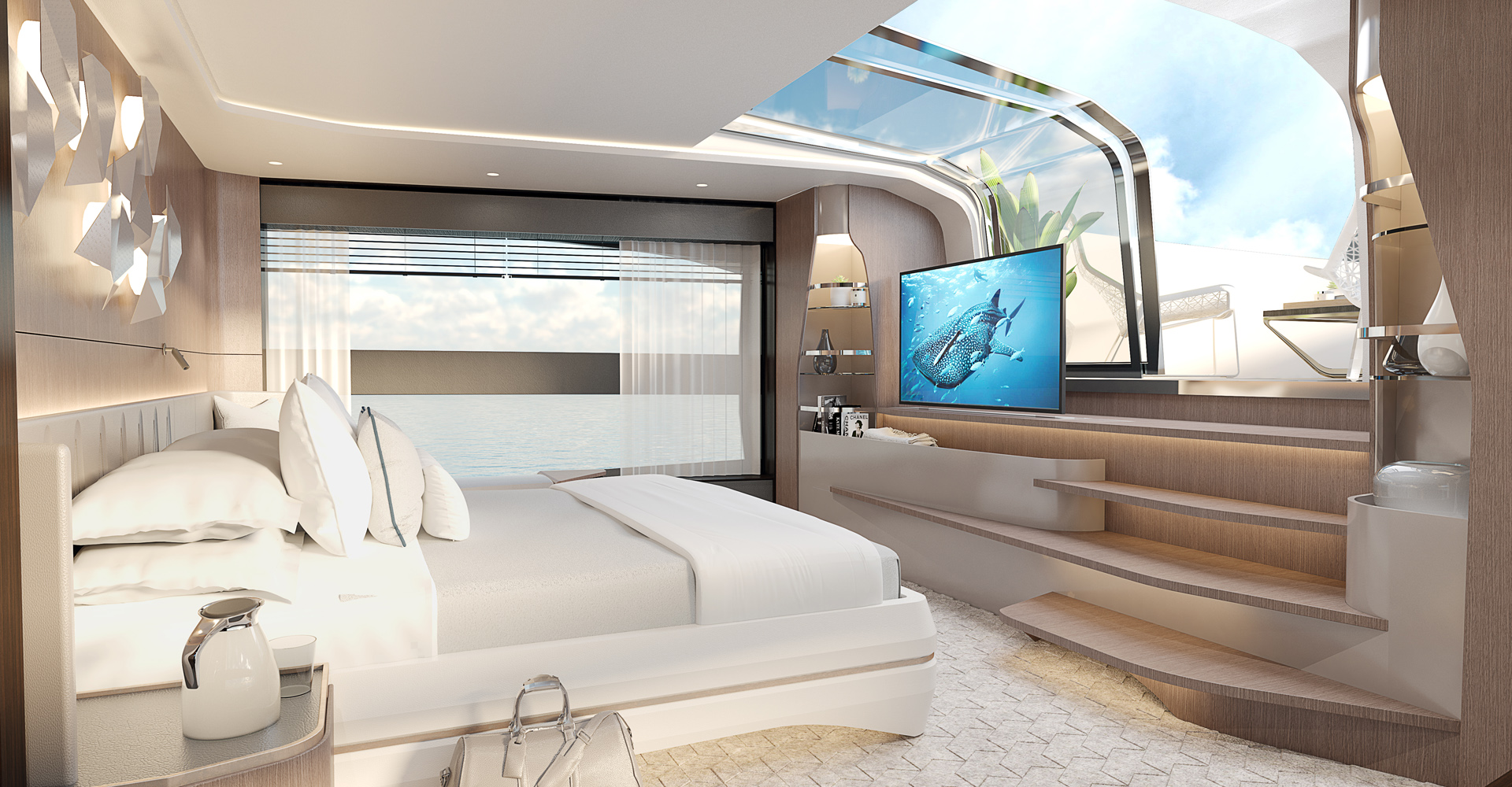 The master suite aboard the Sunseeker 100 Yacht