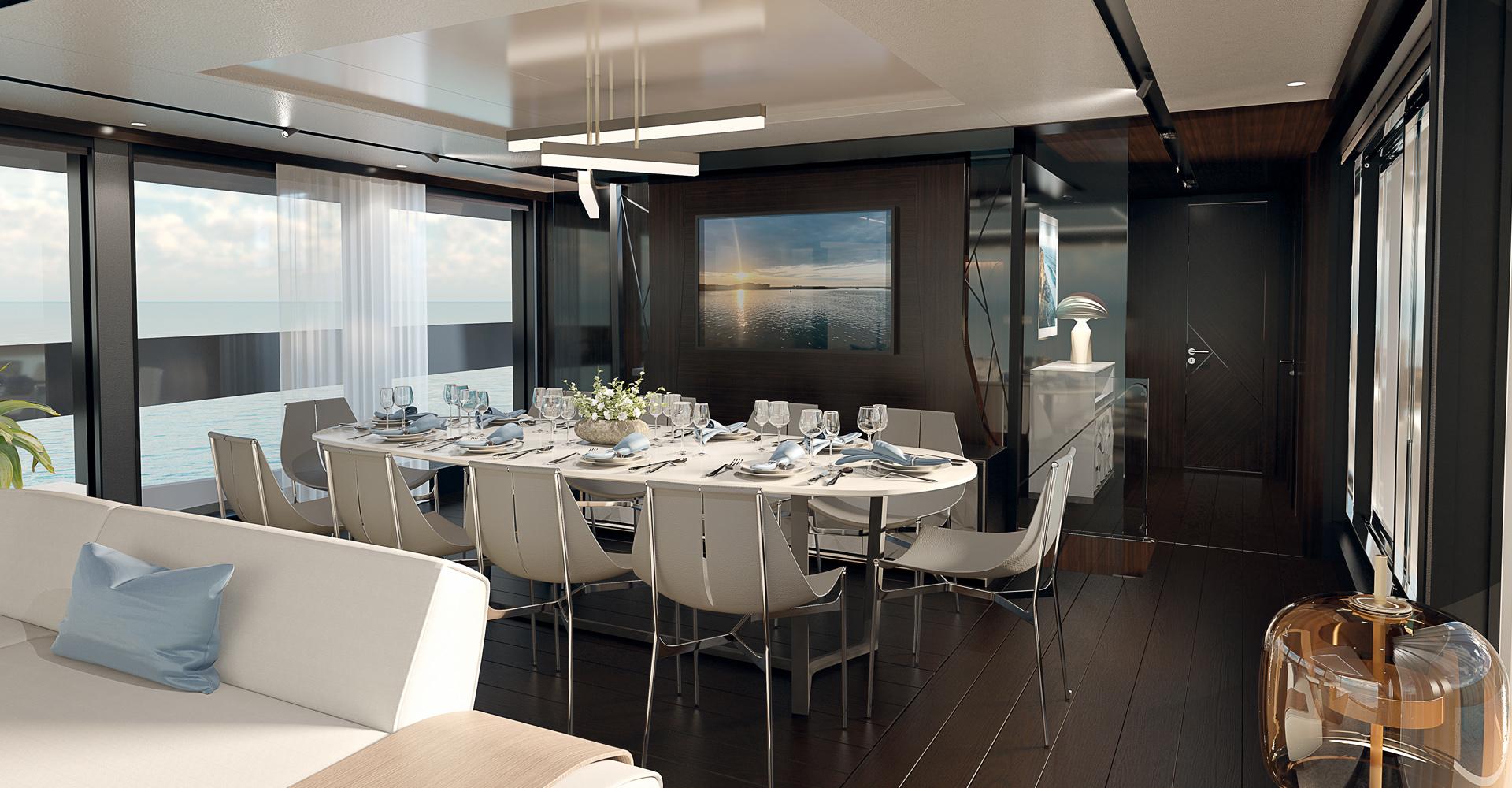 Formal dining aboard a Sunseeker 100 Yacht