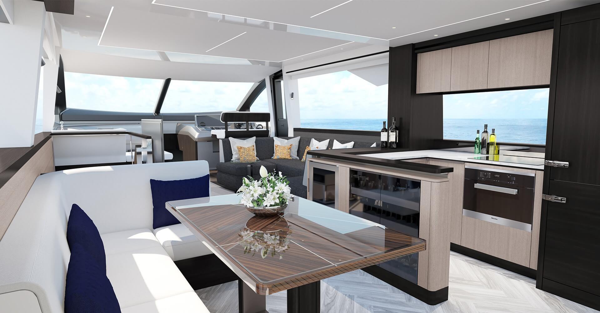 Open plan living aboard the 68ft motor yacht