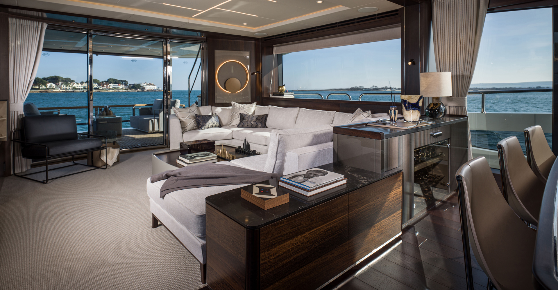 Sunseeker 88 motor yacht saloon interior design