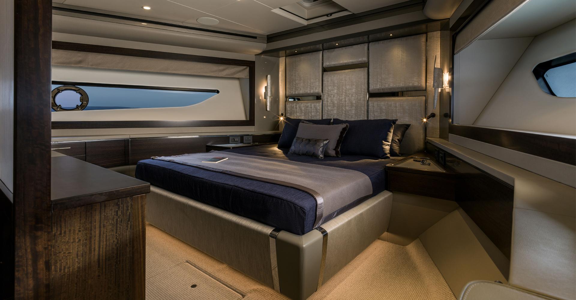 master cabin of Sunseeker 88 yacht