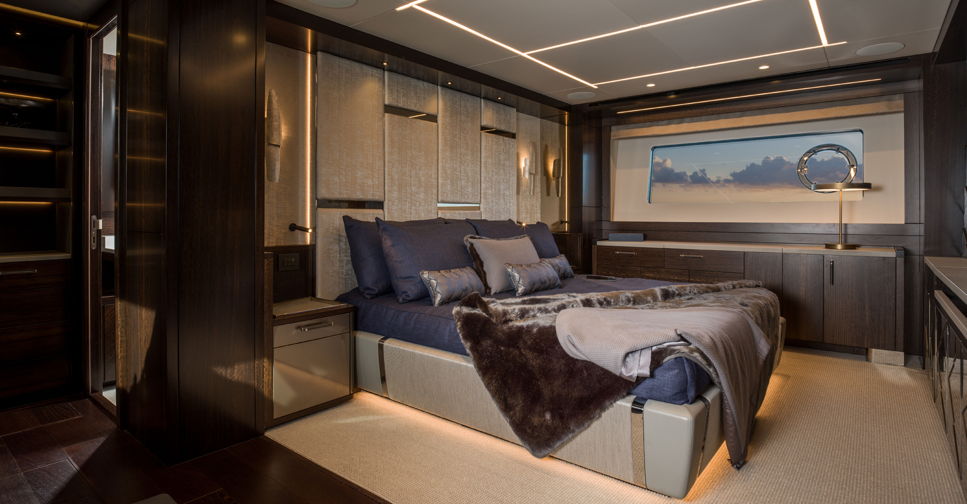 Sunseeker 88 master suite by Design Unlimited